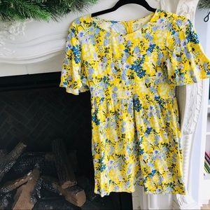 Yellow Summer Floral Pattern Dress Girls